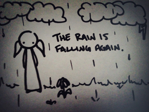 the rain is falling again